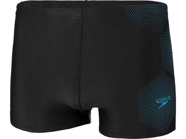 speedo Tech Logo Short de bain Homme, tech black/pool blue